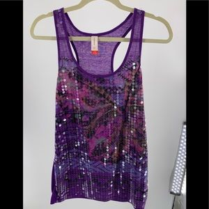 No Boundaries Purple With Clear Sequins Top